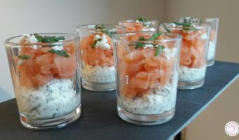 Zalm cocktail met romige dille mouse