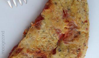 kikkererwten, omelet, vegan, tomaat, basilicum