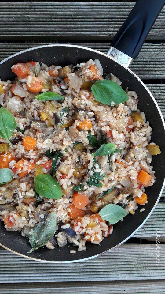 risotto, groente, aubergine, vegan, lactosefree, wortel, basilicum , gele paprika